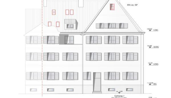 Genehmigungsplanung – Dachgeschossausbau eines denkmalgeschützten Gebäudes